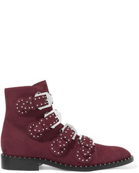 Givenchy Studded Suede Ankle Boots Burgundy