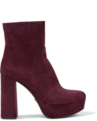 Suede platform boots burgundy medium 4392896