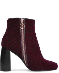 Woven faux suede ankle boots burgundy medium 5083066