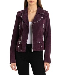 Dark Purple Suede Biker Jacket