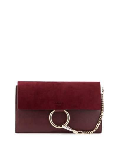 Chloé Chloe Faye Leather Suede Clutch Bag Dark Purple