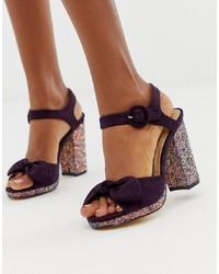 Oasis Block Heeled Sandals With Glitter Heel In Purples