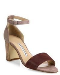 Manolo Blahnik Lauratomod Suede Ankle Strap Block Heel Sandals