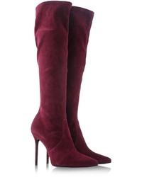 Dark Purple Suede Knee High Boots