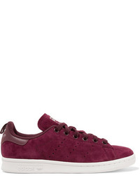 adidas Originals Stan Smith Leather Trimmed Suede Sneakers Burgundy