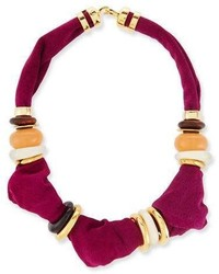 Lizzie Fortunato Surrealist Suede Collar Necklace Magenta