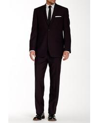 Andrew Marc Marc New York Purple Sharkskin Two Button Notch Lapel Wool Suit
