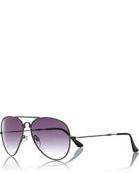 River Island Gunmetal Tone Foldable Aviator Sunglasses