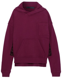Haider Ackermann Satin Paneled Cotton Jersey Hooded Sweatshirt Claret