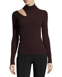 A.L.C. Kara Turtleneck Ribbed Sweater W Slit Detail