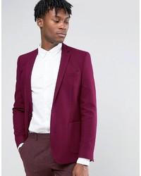 Asos Skinny Blazer In Burgundy Wool Mix