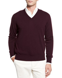 Dark Purple V-neck Sweater