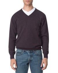 Eleventy Printed Cashmere V Neck Sweater