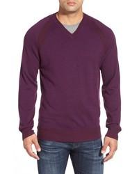 Robert Graham Regan Wool V Neck Sweater