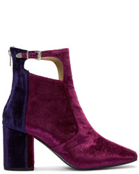 Tricolor heeled velvet cut out boots medium 5172113