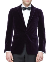 Burberry Peak Lapel Velvet Evening Jacket Purple