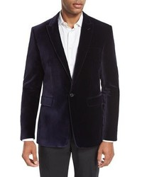 Burberry Velvet Peak Lapel Single Button Sport Coat Purple