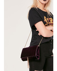 Missguided Purple Velvet Croc Effect Tassel Trim Clutch Bag