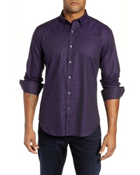 Bugatchi Shaped Fit Stripe Sport Shirt