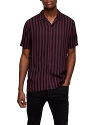 Topman Stripe Short Sleeve Button Up Camp Shirt