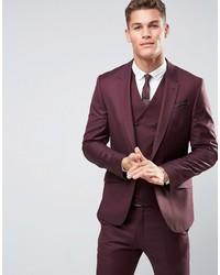 Asos Skinny Suit Jacket In Dark Berry 100% Wool