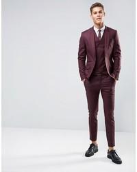 Asos Skinny Suit Jacket In Dark Berry 100% Wool | Where to buy ...