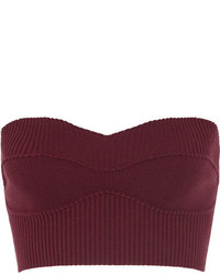 Victoria Beckham Cropped Ribbed Stretch Wool Blend Top Burgundy