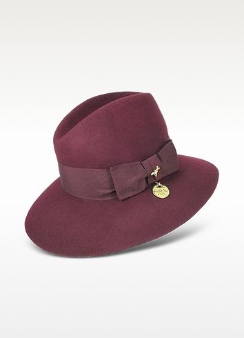 e4c49bdf5893d Patrizia Pepe Dark Purple Wool Fedora Hat