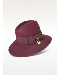 Patrizia Pepe Dark Purple Wool Fedora Hat