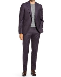 Jack Victor Esprit Contemporary Fit Berry Tick Weave Stretch Wool Suit