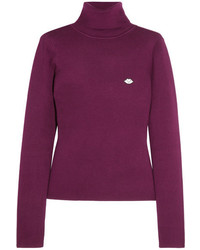 See by Chloe See By Chlo Appliqud Stretch Cotton Blend Turtleneck Sweater Plum