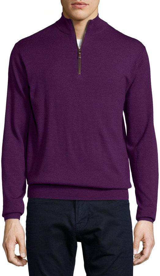 72448b9281f7 ... Last Call by Neiman Marcus › Peter Millar › Dark Purple Zip Neck  Sweaters Peter Millar Quarter Zip Wool Sweater Purple ...