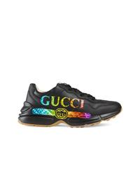 Deportivas de cuero estampadas negras de Gucci