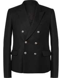 Tap into refined, elegant style with a dark brown overcoat and a double breasted blazer.