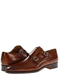 Double monks en cuir bruns Magnanni