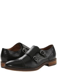 Double monks en cuir noirs Johnston & Murphy