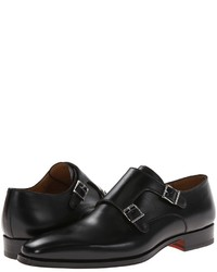 Double monks en cuir noirs Magnanni