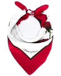 Écharpe à fleurs blanche et rouge Dolce & Gabbana