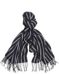 Écharpe à rayures verticales blanche et noire J.Crew