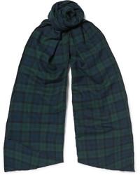 Écharpe en coton à carreaux bleue canard Engineered Garments