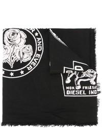 Écharpe en coton imprimée noire Diesel