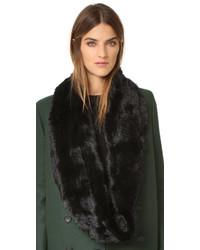 Écharpe en fourrure en tricot noire Jocelyn