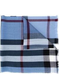Écharpe en laine à carreaux bleue claire Burberry