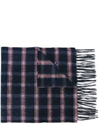 Écharpe en laine à carreaux bleue marine Canali