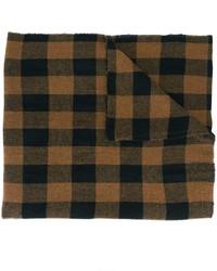 Écharpe en laine à carreaux brune foncée Barena