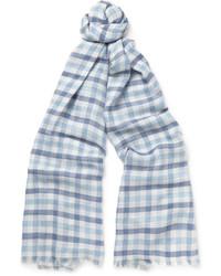 Écharpe en soie à carreaux bleue claire
