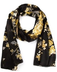 Écharpe en soie à fleurs noire Roberto Cavalli