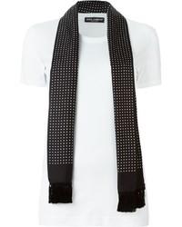 Écharpe en soie á pois noire et blanche Dolce & Gabbana