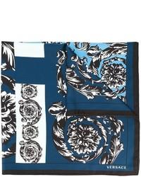 Écharpe en soie bleue Versace