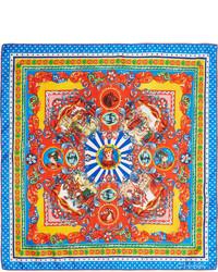 Écharpe en soie imprimée bleue Dolce & Gabbana